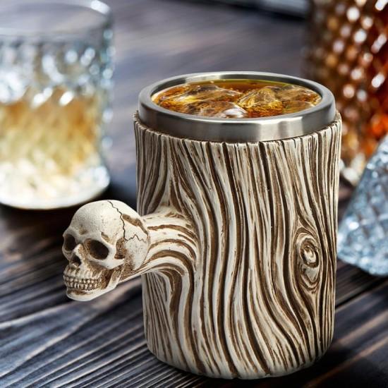 Viking Skeleton Stainless Steel Skull Mug