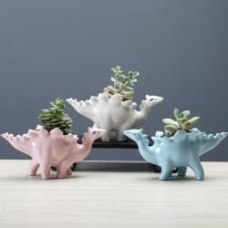 Ceramic Dinosaur Stegosaurus  Flower Pot Planter